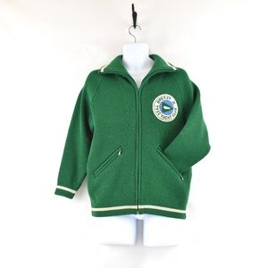 Vintage Wool Knit Green Varsity Sweater Jacket